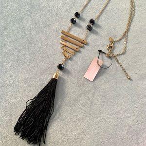 Chico's Gold Tone Black Silk Tussle Fashion Chain Necklace
